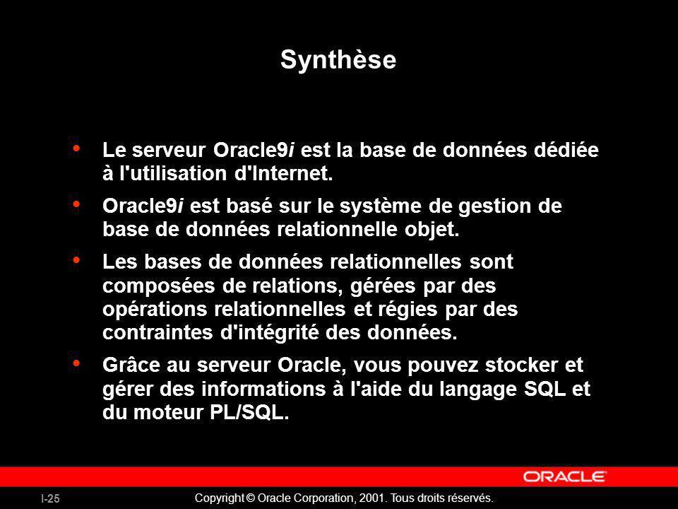 I-25 Copyright © Oracle Corporation, 2001. Tous droits réservés. Synthèse Le serveur Oracle9i est la base de données dédiée à l'utilisation d'Internet