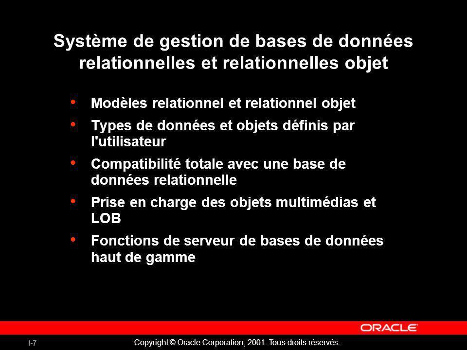 I-7 Copyright © Oracle Corporation, 2001. Tous droits réservés. Système de gestion de bases de données relationnelles et relationnelles objet Modèles