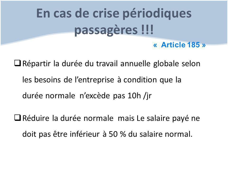 En cas de crise périodiques passagères !!!  Répartir la durée du travail annuelle globale selon les besoins de l'entreprise à condition que la durée