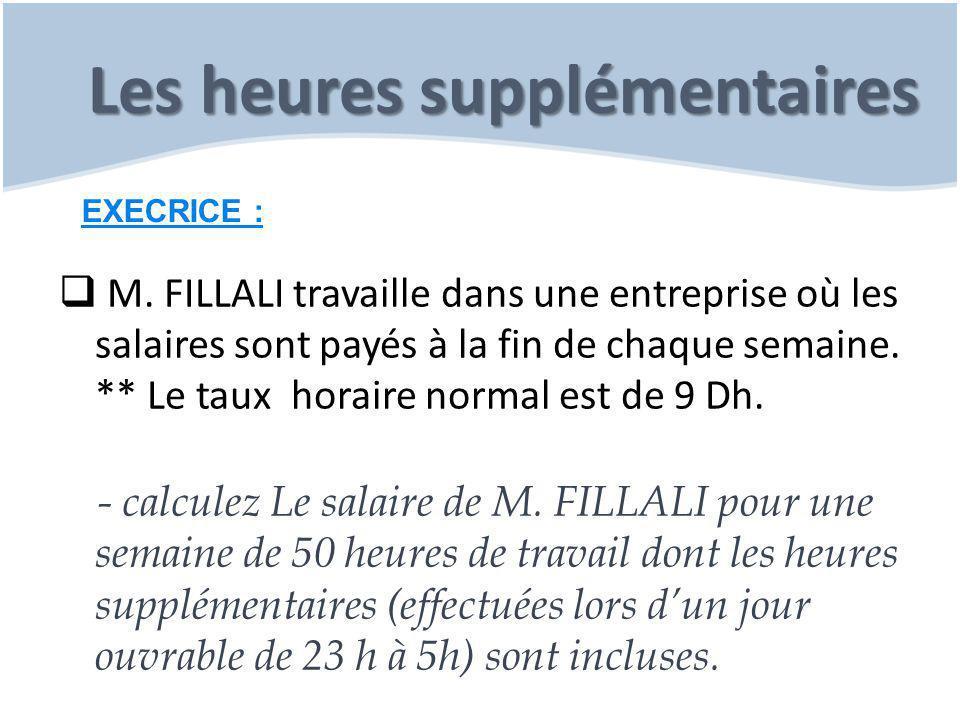Les heures supplémentaires  M. FILLALI travaille dans une entreprise où les salaires sont payés à la fin de chaque semaine. ** Le taux horaire normal