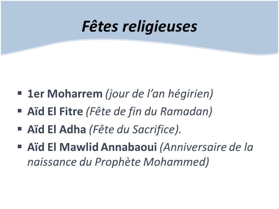 Fêtes religieuses  1er Moharrem (jour de l'an hégirien)  Aïd El Fitre (Fête de fin du Ramadan)  Aïd El Adha (Fête du Sacrifice).