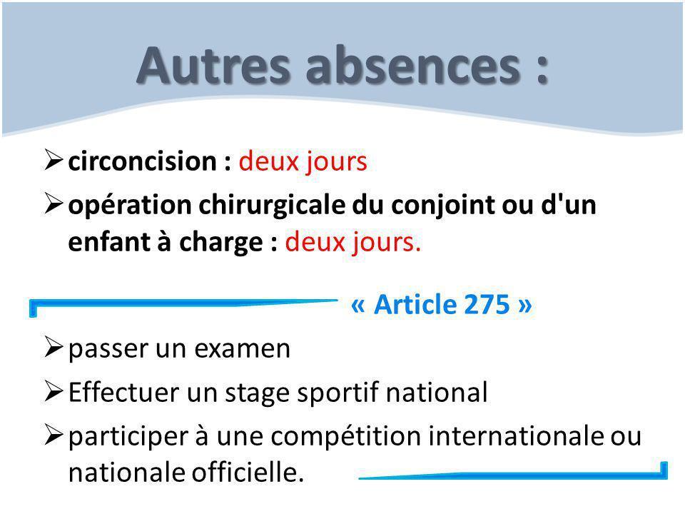 Autres absences :  circoncision : deux jours  opération chirurgicale du conjoint ou d'un enfant à charge : deux jours. « Article 275 »  passer un e
