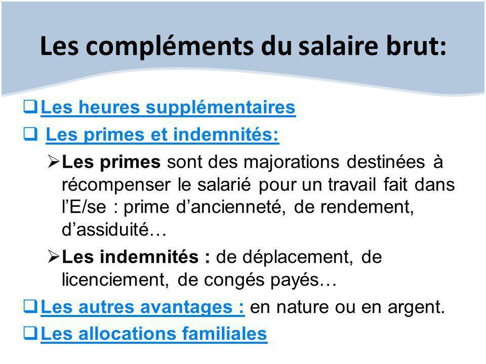 Les compléments du salaire brut:  Les heures supplémentaires  Les primes et indemnités:  Les primes sont des majorations destinées à récompenser le
