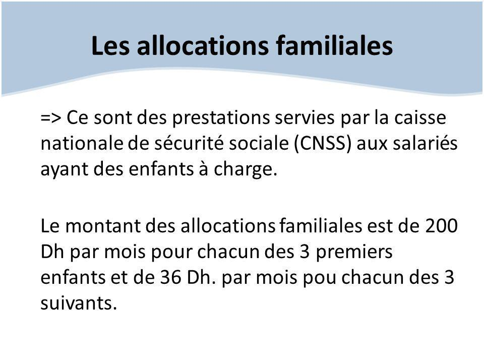 Les allocations familiales => Ce sont des prestations servies par la caisse nationale de sécurité sociale (CNSS) aux salariés ayant des enfants à char