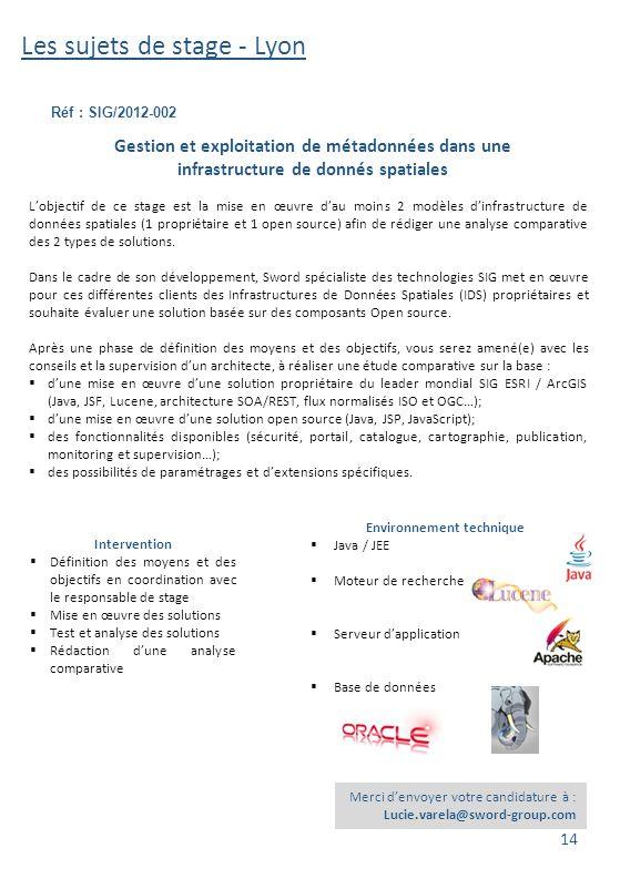 Les sujets de stage - Lyon Réf : SIG/2012-002 Merci d'envoyer votre candidature à : Lucie.varela@sword-group.com Gestion et exploitation de métadonnée