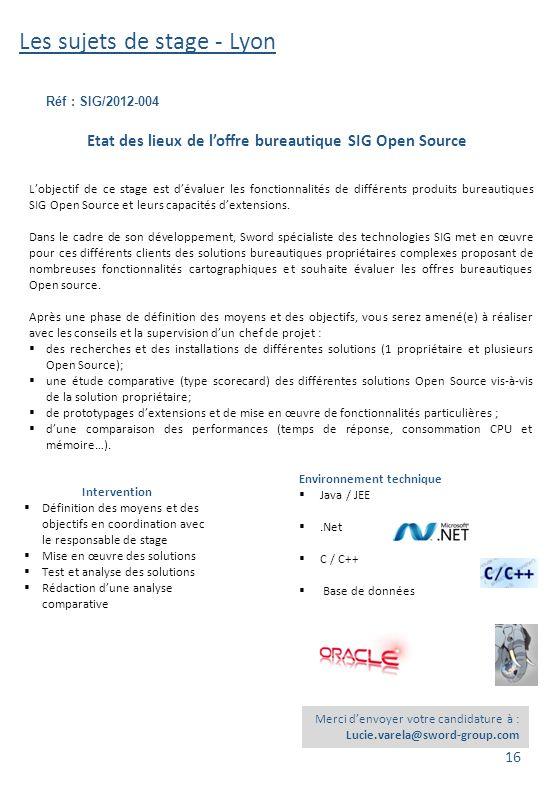 Les sujets de stage - Lyon Réf : SIG/2012-004 Merci d'envoyer votre candidature à : Lucie.varela@sword-group.com Environnement technique  Java / JEE