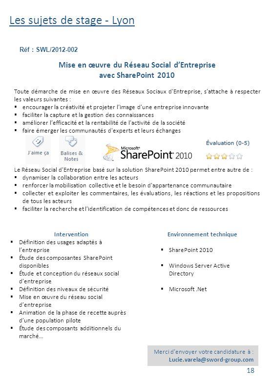 Les sujets de stage - Lyon Réf : SWL/2012-002 Merci d'envoyer votre candidature à : Lucie.varela@sword-group.com Intervention  Définition des usages