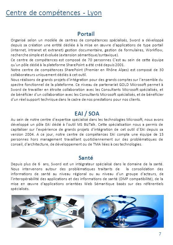 Centre de compétences - Lyon Fort de près de vingt ans d'expérience, le centre d'expertise ECM (Entreprise Content Management) de Sword Lyon, un des premiers de France, maitrise les technologies des principaux éditeurs du domaine.