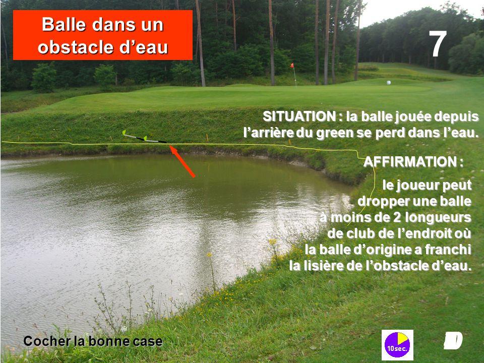SITUATION : la balle jouée depuis l'arrière du green se perd dans l'eau. 7 I098765432I0 Balle dans un obstacle d'eau le joueur peut dropper une balle