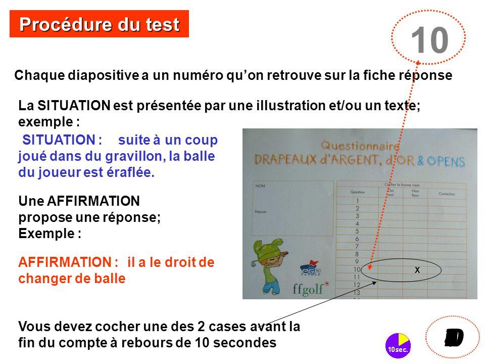 Chaque diapositive a un numéro qu'on retrouve sur la fiche réponse 10 I098765432I0 Procédure du test La SITUATION est présentée par une illustration e