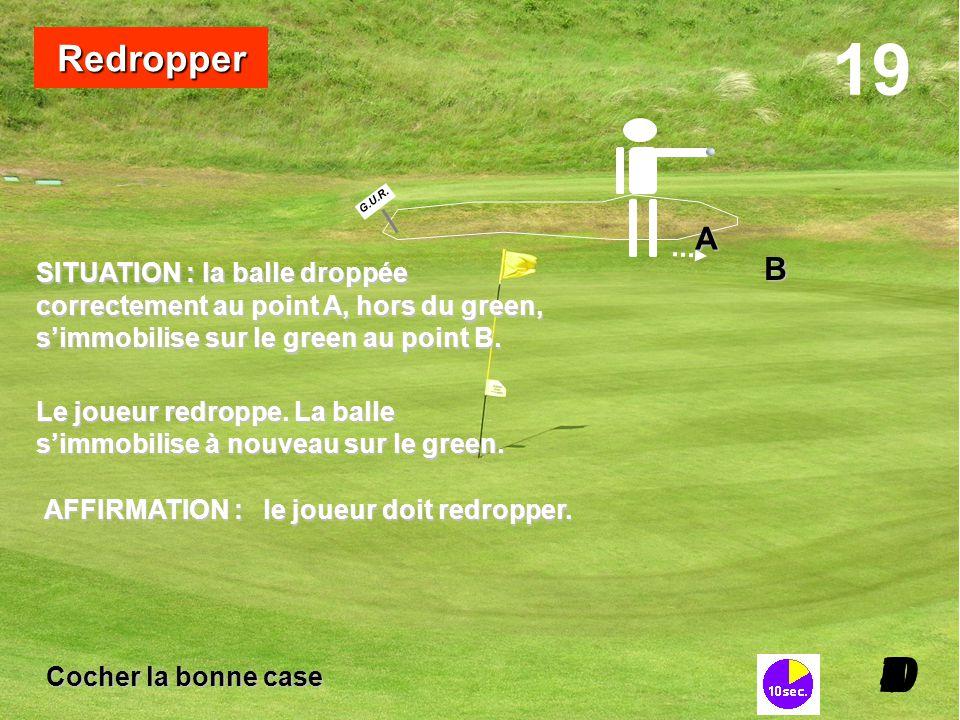 SITUATION :la balle droppée SITUATION : la balle droppée correctement au point A, hors du green, s'immobilise sur le green au point B. 19 I098765432I0