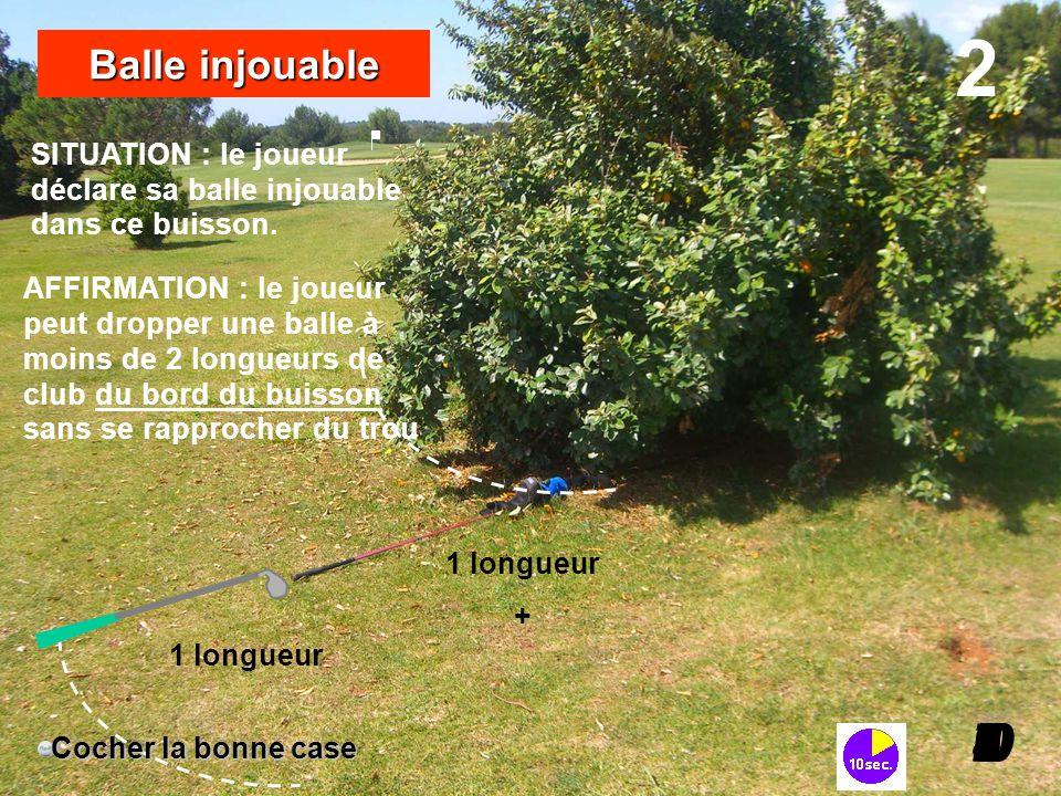 SITUATION : le joueur déclare sa balle injouable dans ce buisson. 2 I098765432I0 Balle injouable Cocher la bonne case 1 longueur + 1 longueur AFFIRMAT
