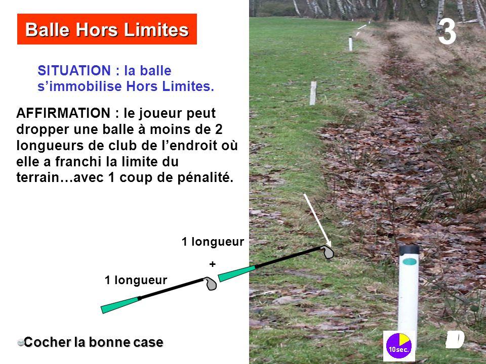 SITUATION : la balle s'immobilise Hors Limites. Balle Hors Limites Cocher la bonne case AFFIRMATION : le joueur peut dropper une balle à moins de 2 lo