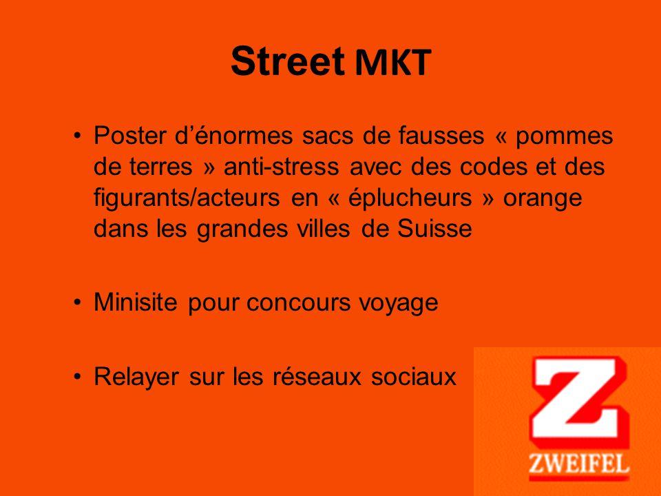 Street MKT Poster d'énormes sacs de fausses « pommes de terres » anti-stress avec des codes et des figurants/acteurs en « éplucheurs » orange dans les grandes villes de Suisse Minisite pour concours voyage Relayer sur les réseaux sociaux