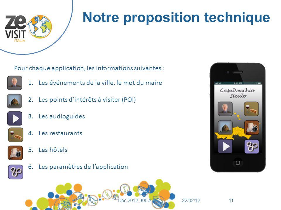 Notre proposition technique 22/02/12Doc 2012-300 A11 Pour chaque application, les informations suivantes : 1.Les événements de la ville, le mot du mai