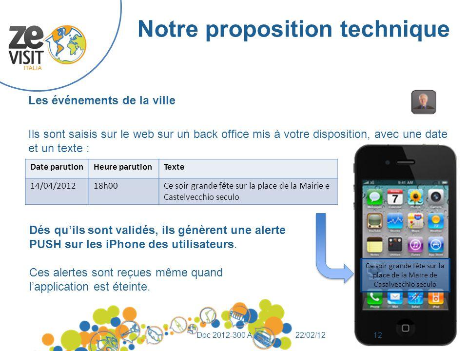 Notre proposition technique Les événements de la ville Ils sont saisis sur le web sur un back office mis à votre disposition, avec une date et un text