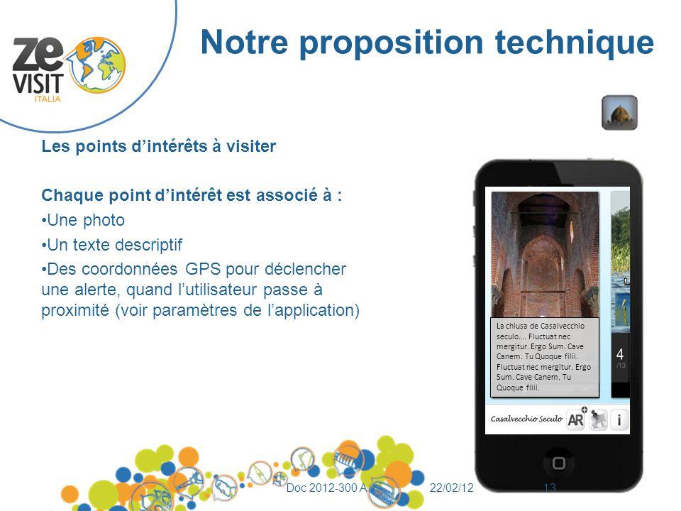 Notre proposition technique Les points d'intérêts à visiter Chaque point d'intérêt est associé à : Une photo Un texte descriptif Des coordonnées GPS p