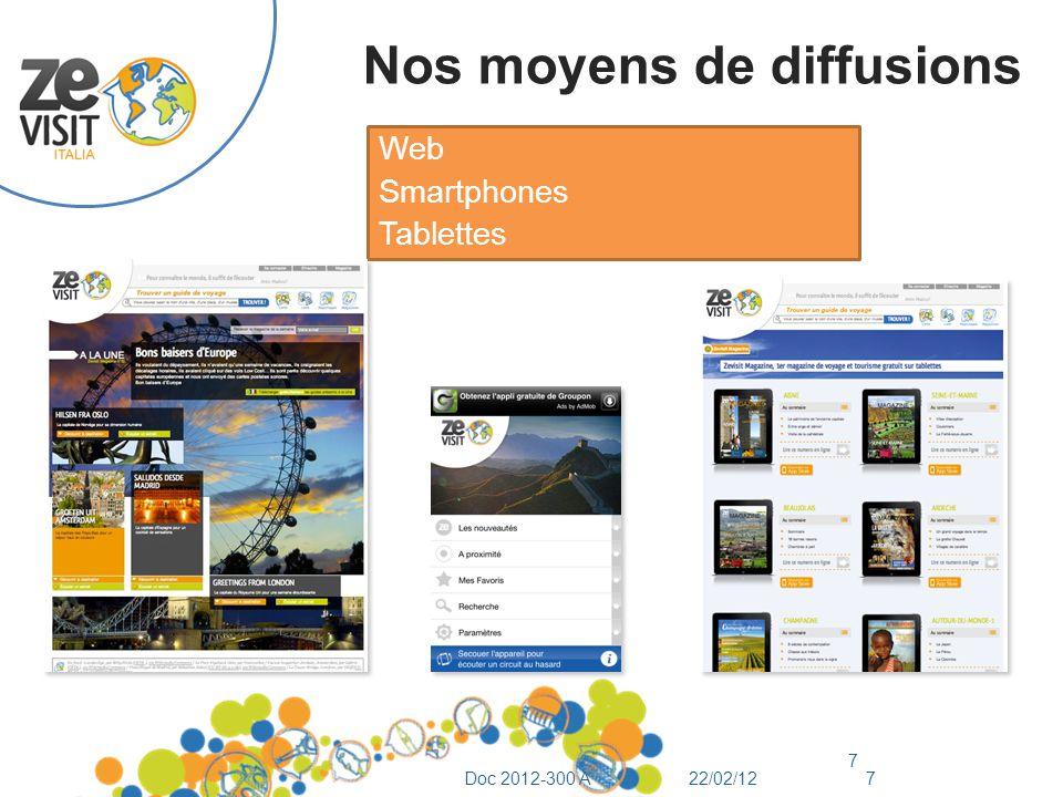Nos moyens de diffusions Web Smartphones Tablettes 7 22/02/12Doc 2012-300 A7