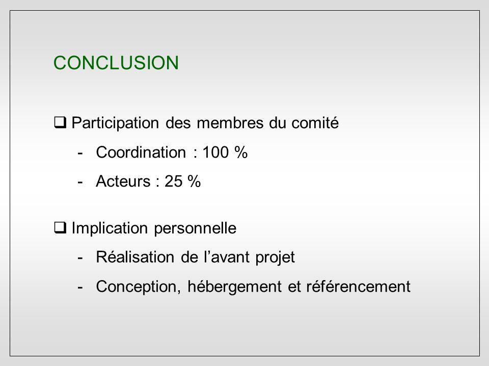 CONCLUSION  Participation des membres du comité -Coordination : 100 % -Acteurs : 25 %  Implication personnelle -Réalisation de l'avant projet -Conception, hébergement et référencement