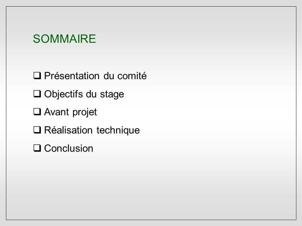 SOMMAIRE  Présentation du comité  Objectifs du stage  Avant projet  Réalisation technique  Conclusion