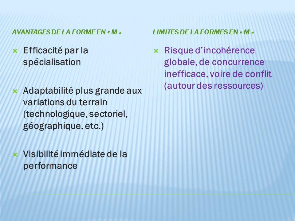 AVANTAGES DE LA FORME EN « M »LIMITES DE LA FORMES EN « M »  Efficacité par la spécialisation  Adaptabilité plus grande aux variations du terrain (t