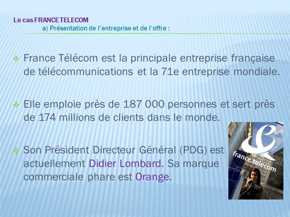 Le cas FRANCE TELECOM a) Présentation de l'entreprise et de l'offre :  France Télécom est la principale entreprise française de télécommunications et