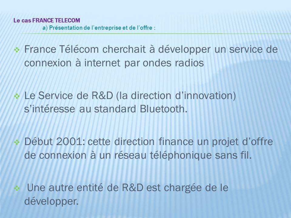 Le cas FRANCE TELECOM a) Présentation de l'entreprise et de l'offre :  France Télécom cherchait à développer un service de connexion à internet par o