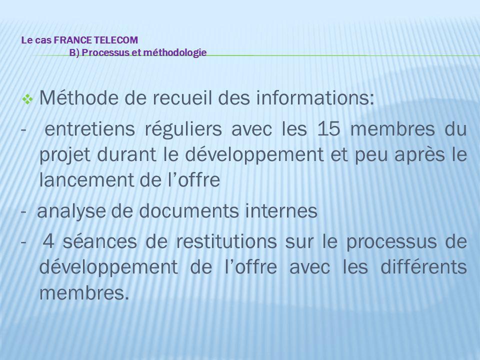 Le cas FRANCE TELECOM B) Processus et méthodologie  Méthode de recueil des informations: - entretiens réguliers avec les 15 membres du projet durant