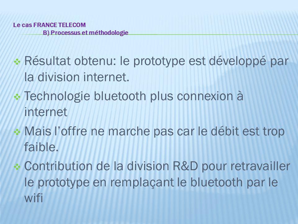 Le cas FRANCE TELECOM B) Processus et méthodologie  Résultat obtenu: le prototype est développé par la division internet.  Technologie bluetooth plu