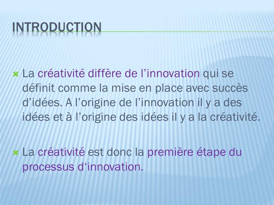  La créativité diffère de l'innovation qui se définit comme la mise en place avec succès d'idées. A l'origine de l'innovation il y a des idées et à l