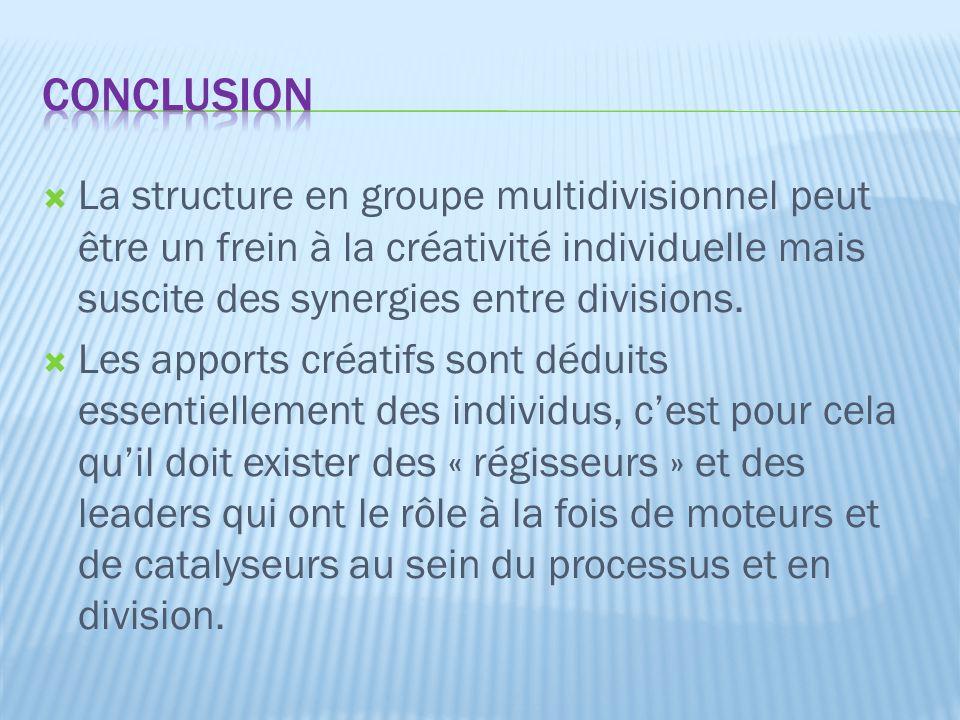  La structure en groupe multidivisionnel peut être un frein à la créativité individuelle mais suscite des synergies entre divisions.  Les apports cr