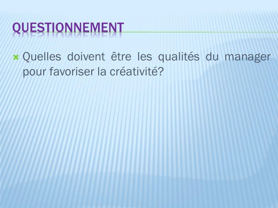  Quelles doivent être les qualités du manager pour favoriser la créativité?