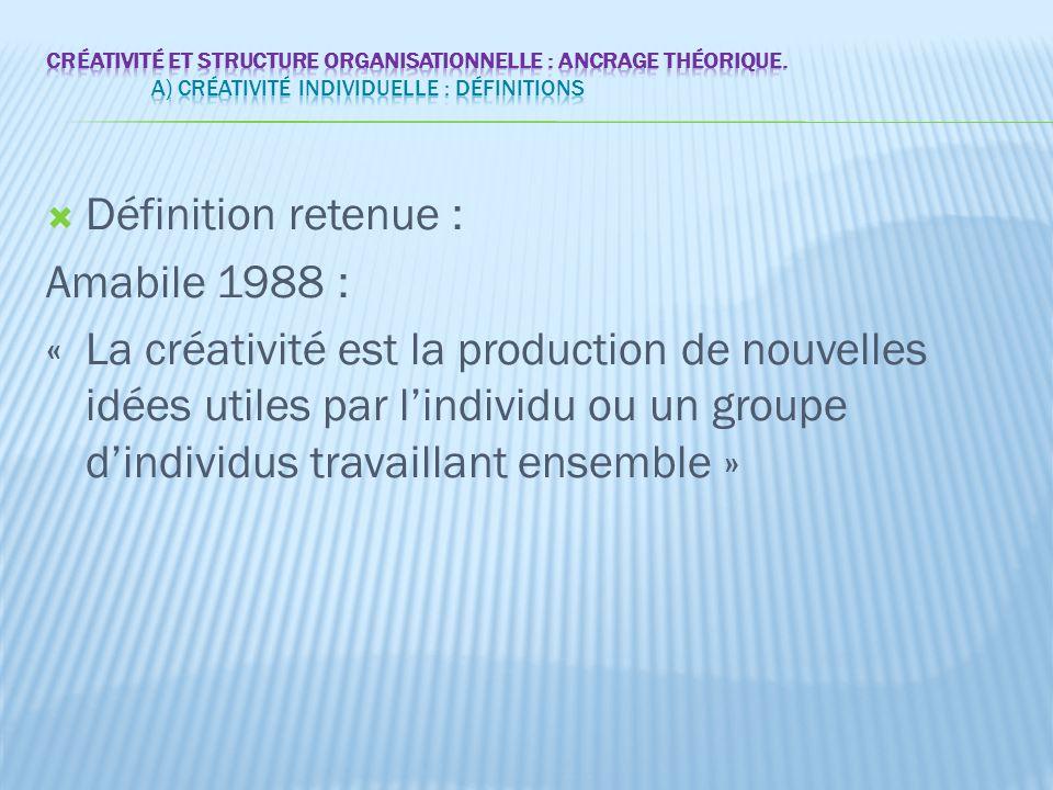  Définition retenue : Amabile 1988 : « La créativité est la production de nouvelles idées utiles par l'individu ou un groupe d'individus travaillant