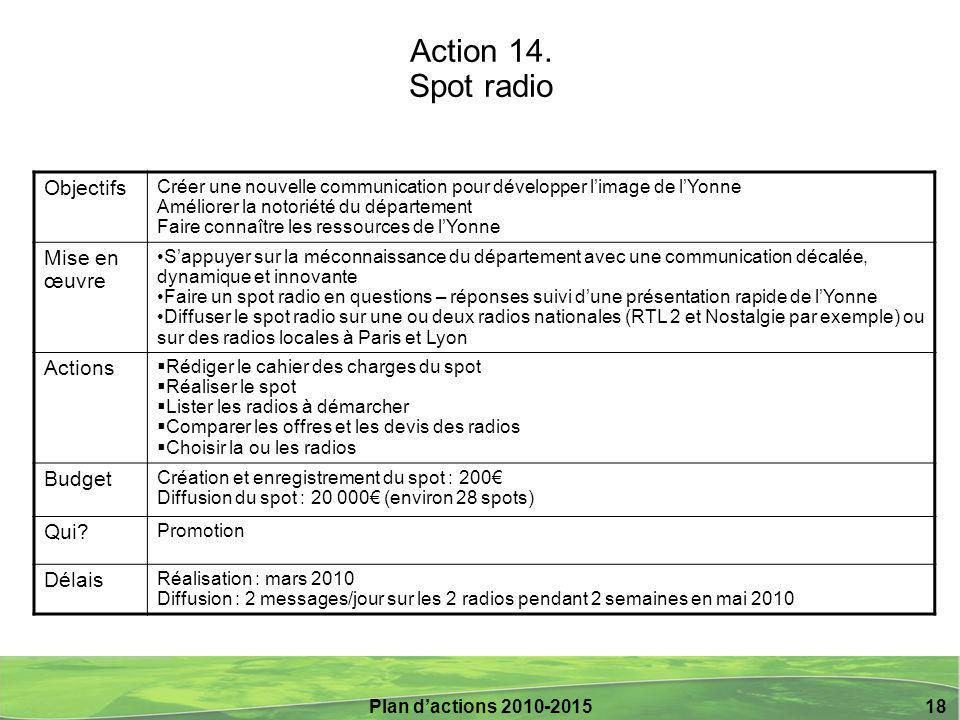 Plan d'actions 2010-2015 18 Action 14.