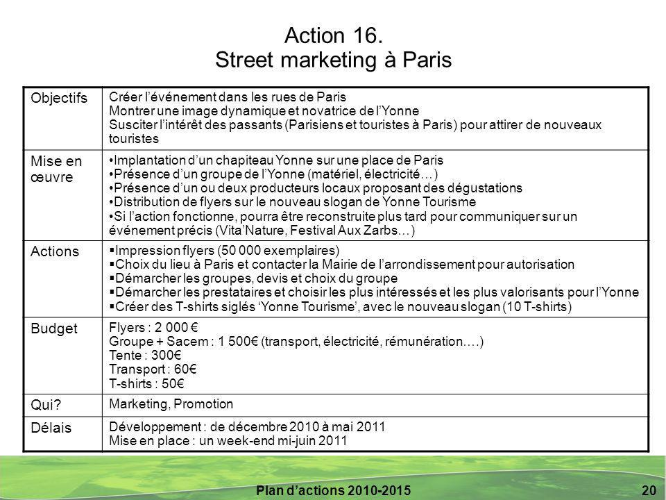 Plan d'actions 2010-2015 20 Action 16.