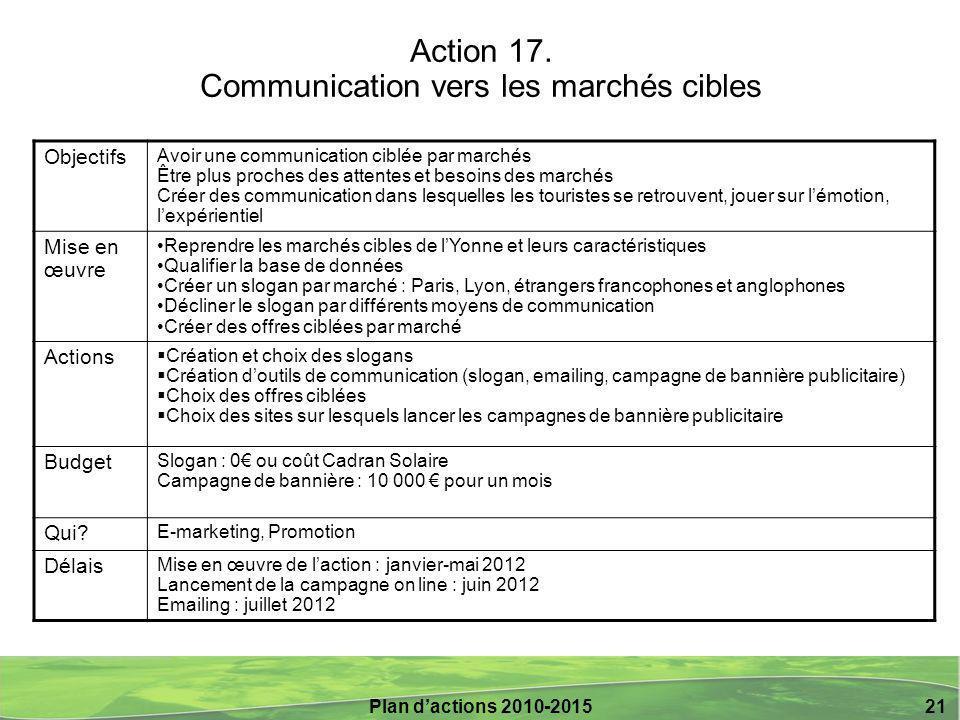 Plan d'actions 2010-2015 21 Action 17. Communication vers les marchés cibles Objectifs Avoir une communication ciblée par marchés Être plus proches de