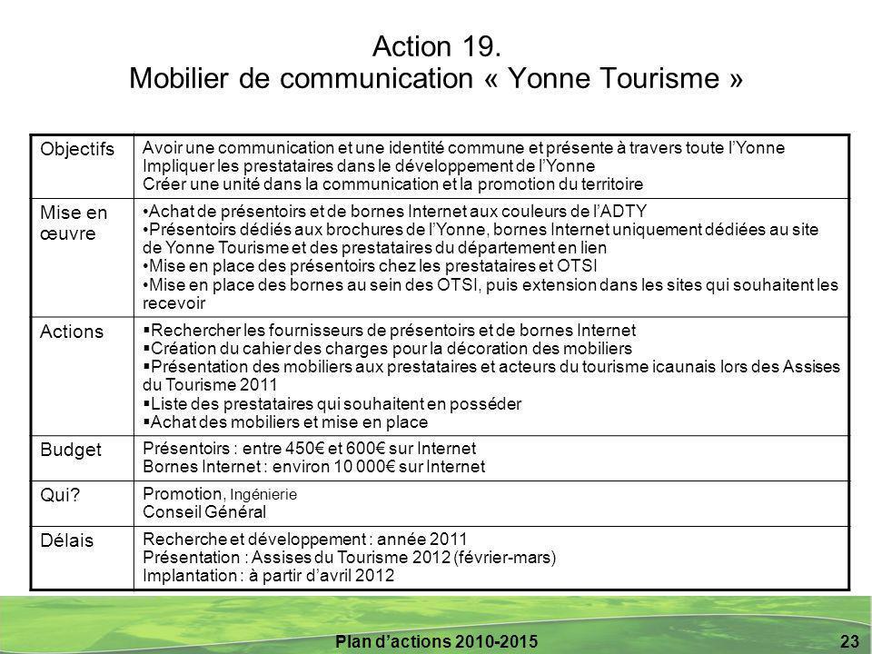 Plan d'actions 2010-2015 23 Action 19. Mobilier de communication « Yonne Tourisme » Objectifs Avoir une communication et une identité commune et prése