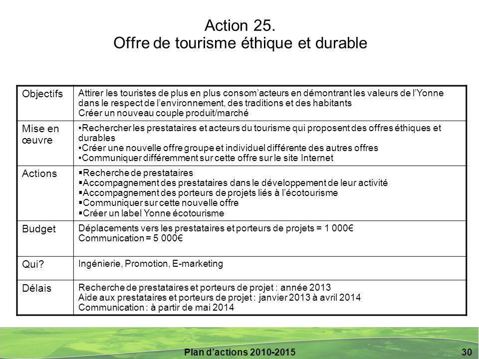 Plan d'actions 2010-2015 30 Action 25.