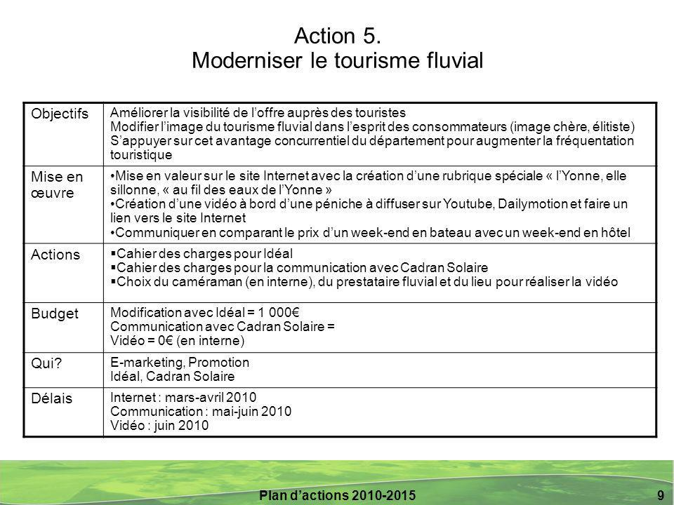Plan d'actions 2010-2015 10 Action 6.