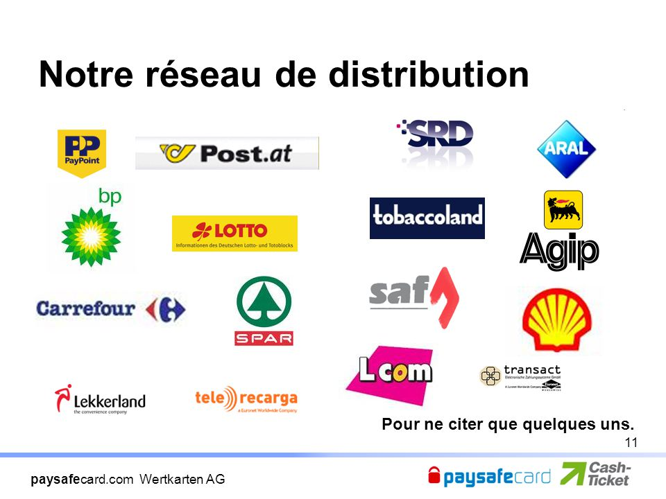 paysafecard.com Wertkarten AG Notre réseau de distribution Pour ne citer que quelques uns. 11