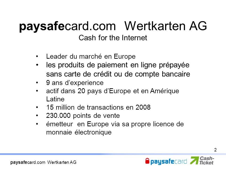 paysafecard.com Wertkarten AG paysafecard.com Wertkarten AG Cash for the Internet Leader du marché en Europe les produits de paiement en ligne prépayée sans carte de crédit ou de compte bancaire 9 ans d'experience actif dans 20 pays d'Europe et en Amérique Latine 15 million de transactions en 2008 230.000 points de vente émetteur en Europe via sa propre licence de monnaie électronique 2