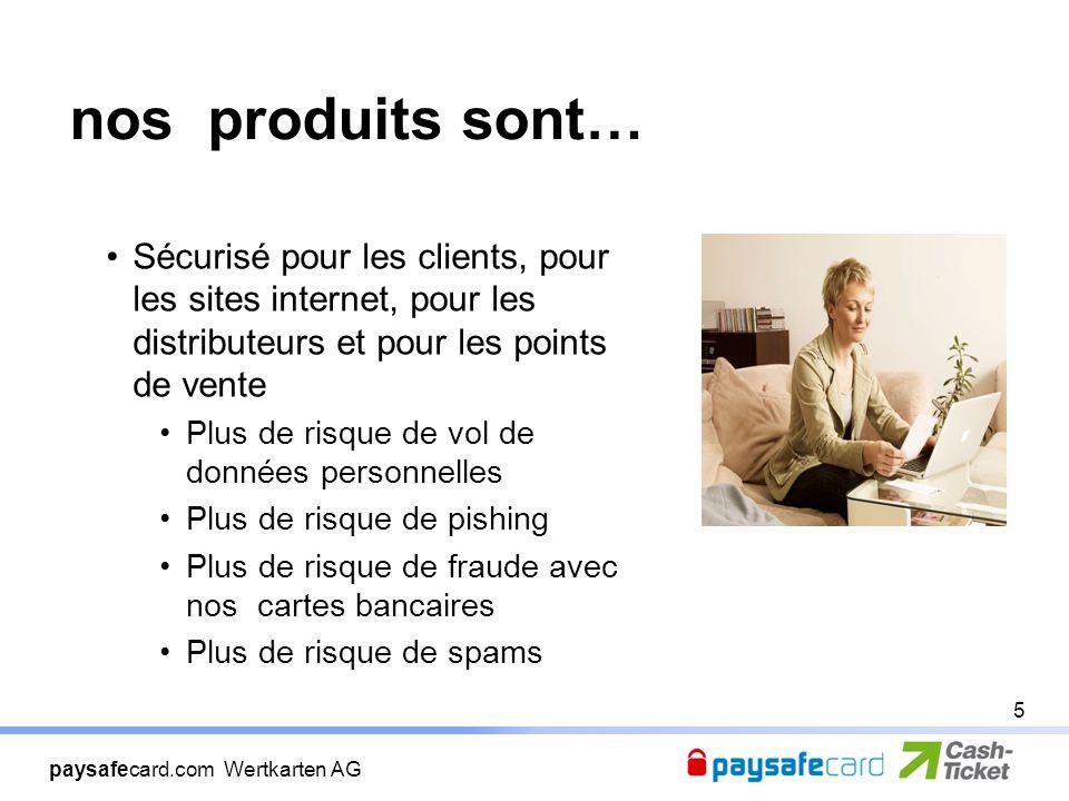 paysafecard.com Wertkarten AG nos produits sont… Sécurisé pour les clients, pour les sites internet, pour les distributeurs et pour les points de vente Plus de risque de vol de données personnelles Plus de risque de pishing Plus de risque de fraude avec nos cartes bancaires Plus de risque de spams 5