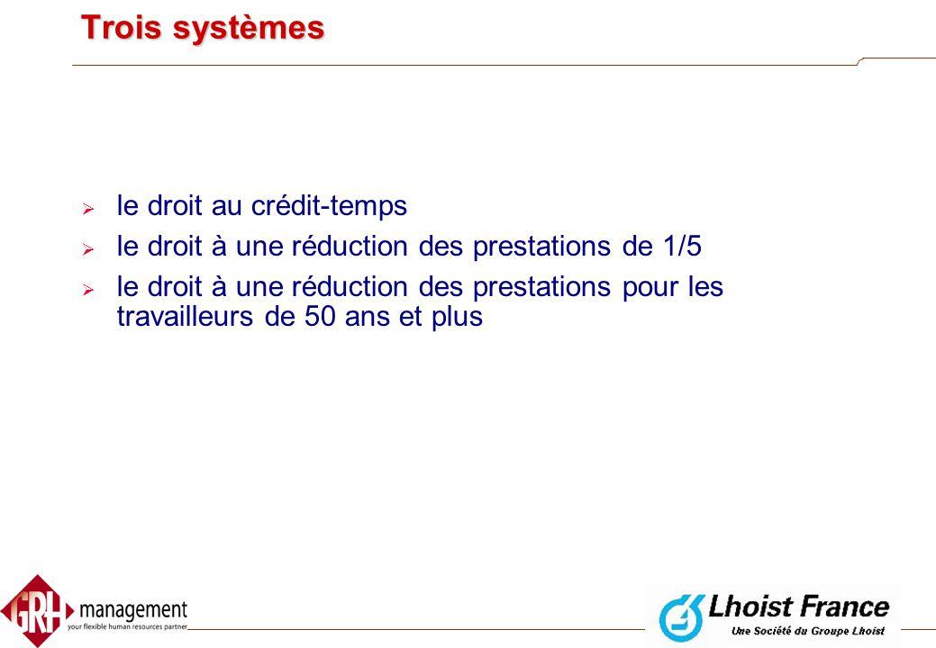 Introduction  Depuis le 1er janvier 2002 : l' ancien régime a été remplacé par le nouveau régime du crédit-temps  Trois changements importants:  l'