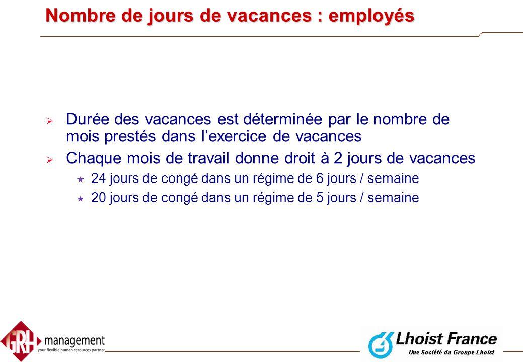 Nombre de jours de vacances : ouvriers  Durée des vacances accordée durant une année calendrier est déterminée par le nombre de jours prestés dans l'