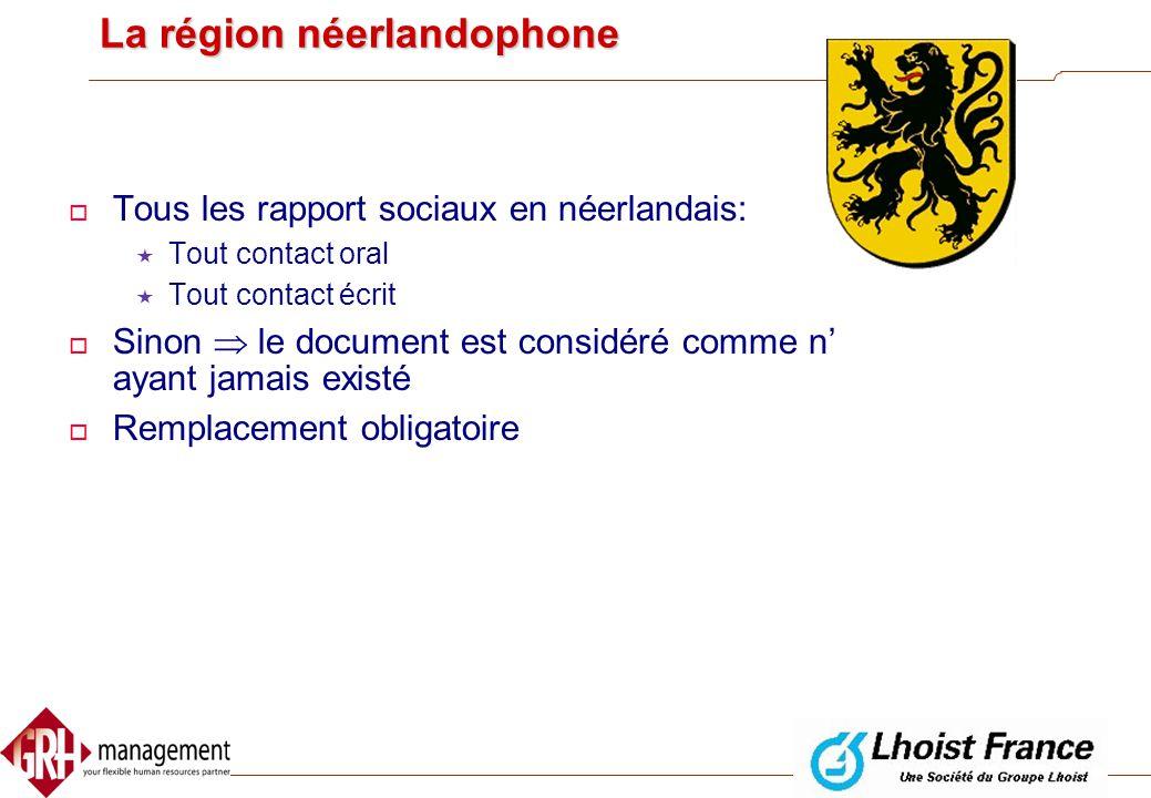 Utilisation des langues  Dans la région Flamande  Dans la région Wallone  Dans la région Bruxelloise et les communes à facilités
