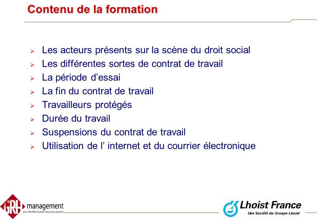 Formation Législation Sociale GRHmanagement Philippe Foerster 9 et 10 décembre 2002