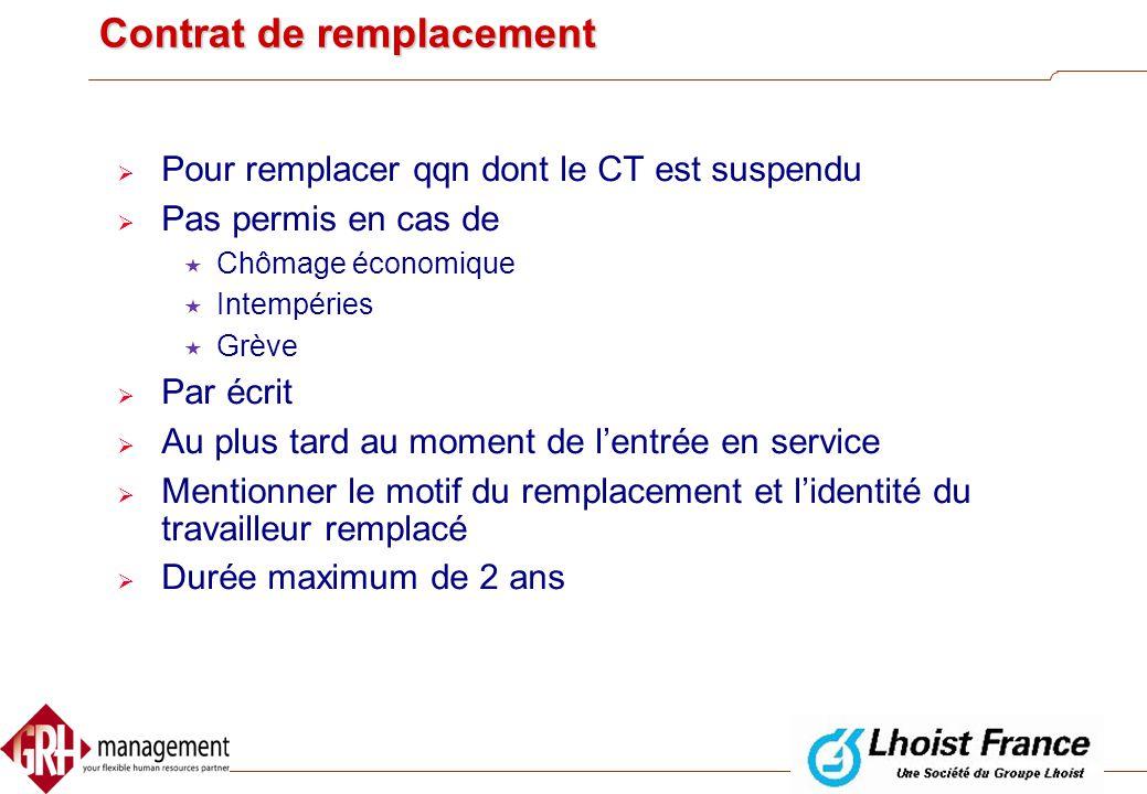 CDD  Écrit obligatoire  Au plus tard au moment de l'entrée en service  Durée pas clairement définie  CDI  CDD successifs interdits SAUF….  Excep