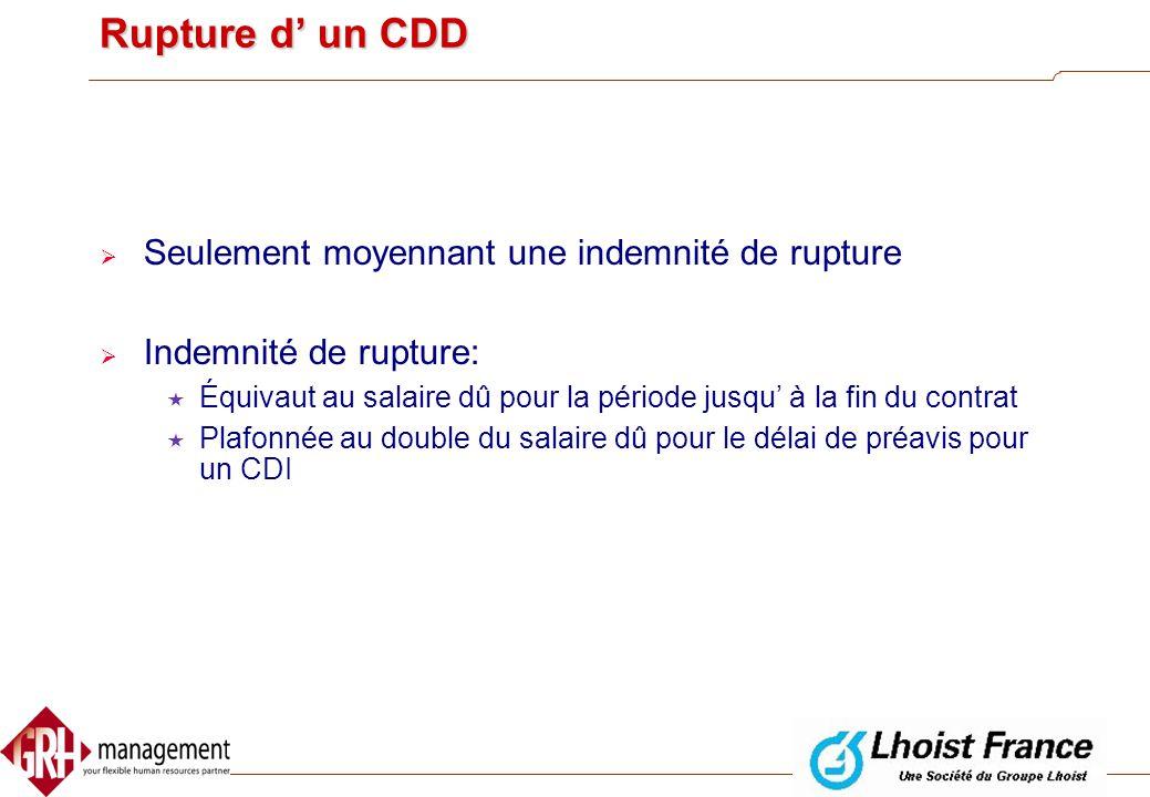 Rupture du contrat de travail  Rupture d' un CDD  Rupture d' un CDI  Modification unilatérale de conditions de travail essentielles
