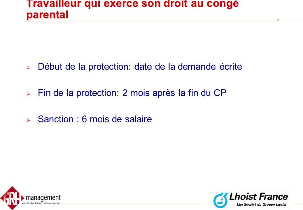 Travailleur qui exerce son droit au crédit-temps  Début de la protection: la date de la demande écrite  Fin de la protection:  3 mois après la péri