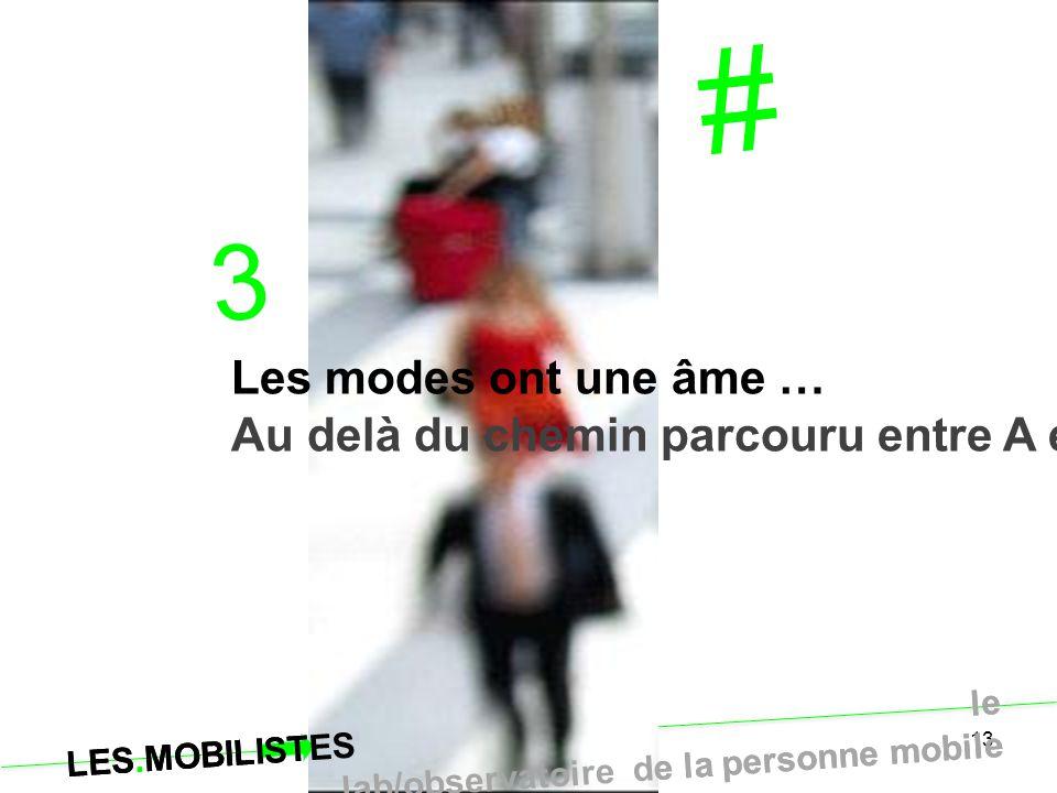 LES.MOBILISTES le lab/observatoire de la personne mobile 13 # 3 Les modes ont une âme … Au delà du chemin parcouru entre A et B. LES.MOBILISTES le lab